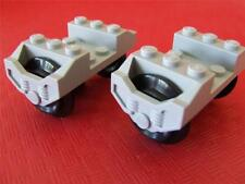2 New Lego City Train Car Wheels fits RC 9V IR Track Rail Sets Light Bluish Gray
