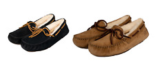 NEW UGG AUSTRALIA DAKOTA SLIPPER CHESTNUT BLACK WOMENS SUEDE SHEARLING FREE SHIP