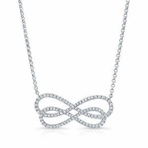 14k White Gold Diamond Infinity Pendant twist Necklace Natural Round Cut Womens