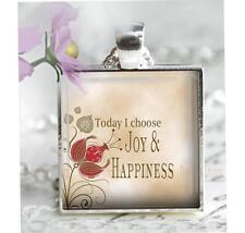 Today I Choose Joy & Happiness Pendant Charm or Key Chain Inspirational Jewelry