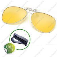 Clip On Flip Up Sunglasses Avaitor Frames Polarized Lens UV400 For Nigth Driving