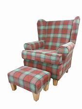 SUN RED TARTAN FABRIC WINGED BACK CHAIR/ FIRESIDE CHAIR WITH MATCHING FOOTSTOOL