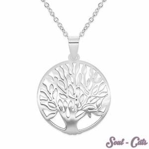 Lebensbaum Halskette aus Edelstahl in silber Kette Baum des Lebens Anhänger