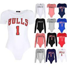 Womens Bulls 1 Print Bodysuit Ladies Jersey Varsity Usa Cap Sleeve Top Leotard