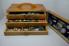 Fly tying Tool Kits in a wooden box, Fly Tying Materials, Tools, Feathers