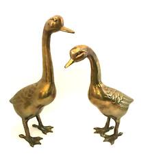"Large Brass Geese Figurines Goose Gander 13.5"" and 11.5"" Vintage Set Waterfowl"