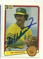 TOM UNDEWRWOOD 1983 DONRUSS SIGNED # 391 A'S DECEASED