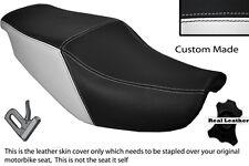 BLACK & WHITE CUSTOM FITS HONDA CBR 1000 F 87-88 DUAL LEATHER SEAT COVER