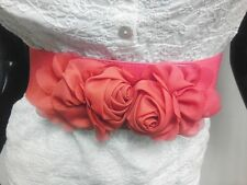 WOMEN WAIST ELASTIC RED 2 FASHION BELT W/ CHIFFON FLOWERS BUCKLE SIZES S M L XL