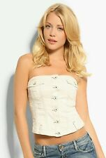 Guess White CreamDenim Corset Button Up Macrame Bustier Lace Top Size S NWT