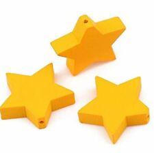 15 Holzperlen 17x20mm Gelb Stern mit Loch 1mm Holzkugeln Holzsterne Perlen Holz