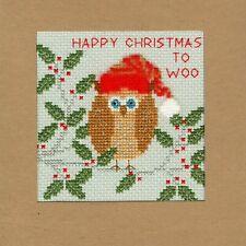 Bothy Threads ~ Counted Cross Stitch Kit ~ Christmas Card ~ Xmas Owl ~ XMAS11