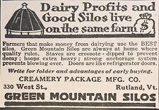 1919 AD.(XG3)~CREAMERY PACKAGE MFG. CO. RUTLAND, VT. GREEN MOUNTAIN SILOS