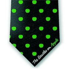 The Beatles Black Mens Silk Tie Green Apple Logo Outline Dress Casual Official