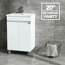 "20"" White Bathroom Vanity Cabinet Undermount Ceramic Vessel Sink Bowl Combo US"