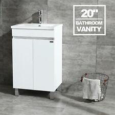 "20"" White Bathroom Vanity Cabinet Undermount Ceramic Vessel Sink Bowl Combo Us"