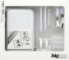 NINTENDO DS 3DS ZUBEHÖR Pack 3 in Weiß KOPFHÖRER TASCHE STIFTE LEERHÜLLEN NEU