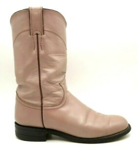 Justin Blush Pink Leather Classic Cowboy Western Roper Boots Women's 5.5 B