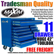 "MAXIM 42"" Tool Cabinet 11 Drawer Toolbox Chest Trolley Box Roller Garage BLUE"