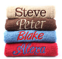 Personalised Face Towels EMBROIDERED with *ANY NAME* Ideal for GYM