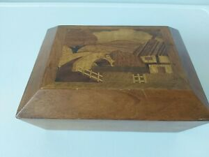 """Old Wood Wooden Marquetry Musical Jewellery / Cigarette Box 7 x 5"""""""
