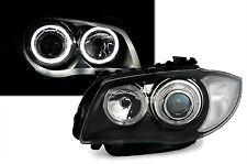 BMW 1 E81 / E82 / E87 / E88 Headlight Headlamp White Angel Eyes Black (PAIR)