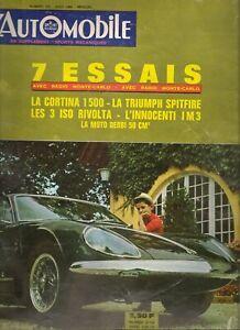 L'AUTOMOBILE 220 1964 TRIUMPH SPITFIRE FORD CORTINA 1500 12H REIMS ISO RIVOLTA