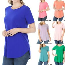 Women Long Tunic Top Short Sleeve T-Shirt Blouse Loose Casual Basic Crew Neck