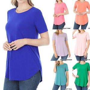Women Long Tunic Top Short Sleeve T-Shirt Blouse Loose Casual Basic Crew Neck