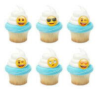 Emoticons Emoji cupcake rings (24) party favor cake topper 2 dozen