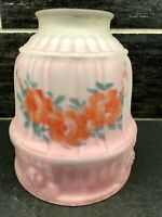 Antique Reverse Painted Pink Flowers Satin Glass Pendant Globe Lamp Shade