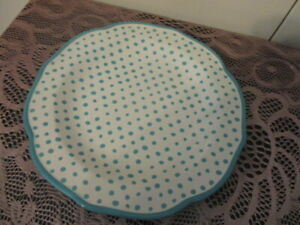 """New With Tag The Pioneer Woman Retro Dot Teal Stoneware Dinner Plate 10 1/2"""""""