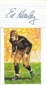 RARE ED HEALEY SIGNED INDEX CARD~W/ GOAL LINE ART CARD~FOOTBALL HOF AUTO~BEARS