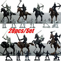 28PCS Medieval Knights Warriors Horses Soldiers Figures Model Playset Kid Toy