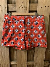 Crown & Ivy Caroline Red White Blue Geo Classic Fit Stretch Shorts Pockets 8