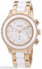 DKNY Brooklyn White Dial Chronograph Steel and Ceramic Ladies Watch NY8825