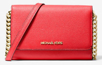 NWT💋MICHAEL KORS Jet Set Leather Multifunction Phone Crossbody Bag, Red Flame