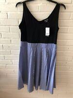New City Chic Woman's V Neck Sleeveless Shirt Dress Plus Size  Blue  G5