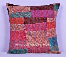 INDIAN CUSHION COVER THROW HAND STITCHED KANTHA PATCHWORK PILLOW CASE BOHEMIAN