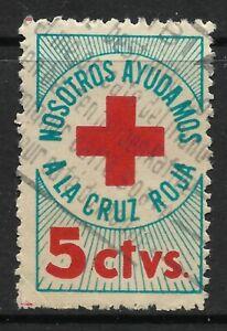 Colombia 1951. 5c Rojo Y Azul Verde Cruz Roja Caridad Sello Fino Usado