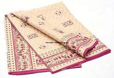 Vintage Indian Saree 100% Pure Silk Printed Antique Scrap Fabric For Craft Cream
