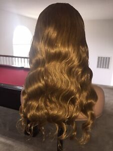 """20"""" Virgin Human Hair, Customized Color (Golden Honey Blonde), Full Lace Wig"""