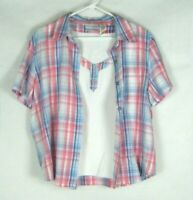 Alfred Dunner Petite Women's sz 16p Plaid Button Down Short Sleeve Shirt Top