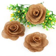 6 x Handmade Hessian Burlap Rose Flower Shabby Chic Flowers Rustic Wedding