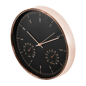 "SILENT Wall Clock 12"" Humidity + Temperature / Stylish Modern Rose Gold & Black"