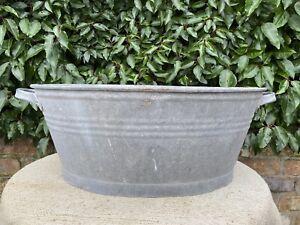 Large  Vintage Galvanised Garden Planter Tin Bath 61 cm long (1246)