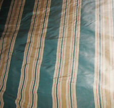 Teal Blue, Antique Gold & Beige Striped Silk Drapery Fabric BTY