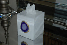 Modern White Lacquer Tissue Box with Agate Slice - choose your color!