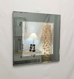 Marietta Square Wall Mirror Grey / Smoked Glass Frame Bevelled 2 Layers 60x60cm