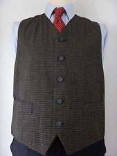 Mens Dark Brown Fine Check Wool Blend Waistcoat Vest Size UK 42 Large